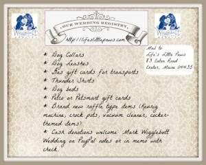 Wigglebutt Wedding registry