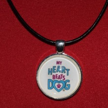 My heart beats dog leather necklace
