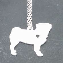 "Silver plated pit bull with 20"" chain"