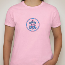 My heart beats dog pink t-shirt