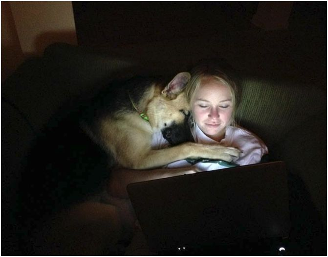 Snuggling with dog
