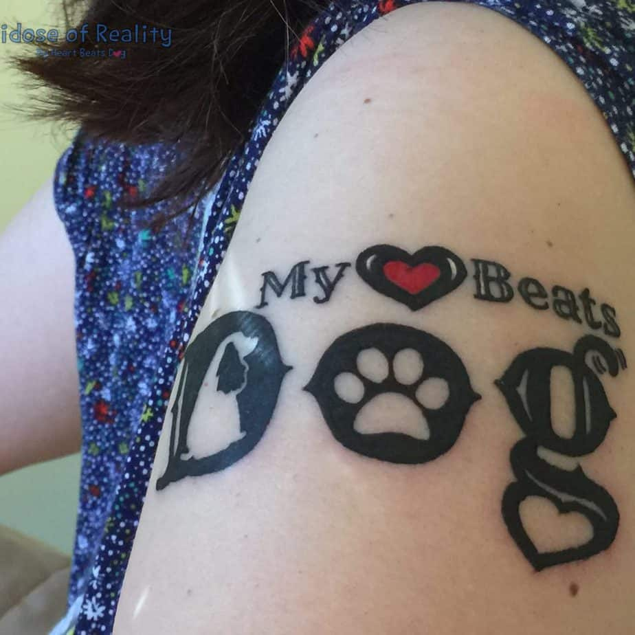 My Heart Beats Dog tattoo