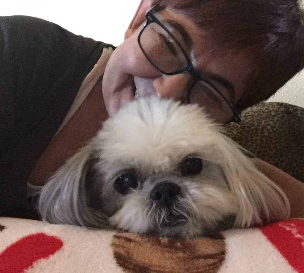 Cute dog with dog mom