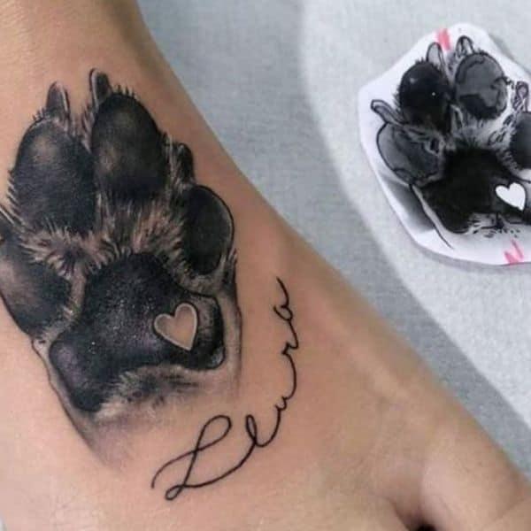 Pawprint dog tattoos