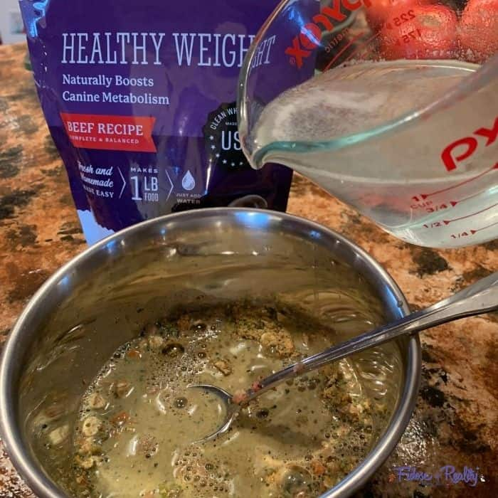 Pour water on Dr Harvey's Cocker Spaniel weight loss food
