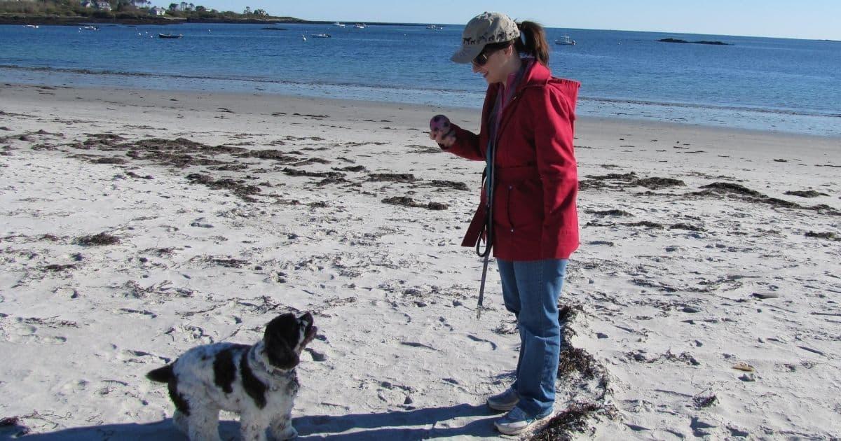 mom and dog at beach