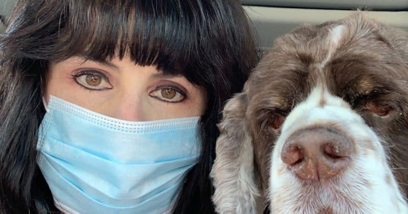 dog mom and dog with mask